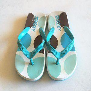 Roxy flip flops / sandals blue white mint green